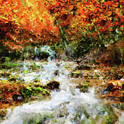 Fall Landscape Mixed Media Prints - Dreaming In Color - Abstract Realism Print by Zeana Romanovna
