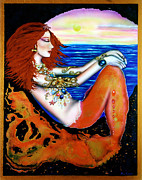 Goddess Mythology Paintings - Dreaming Mermaid by Ilene Satala
