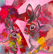 Hare Mixed Media Prints - Dreaming of a rabbit Print by Lisa Darlington