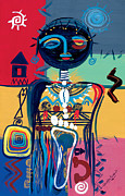 Composition Painting Prints - Dreaming of Africa Print by Oglafa Ebitari Perrin