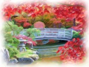 Impressionism Digital Art Prints - Dreaming of Fall Bridge in Manito Park Print by Carol Groenen