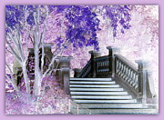 Pink And Lavender Prints - Dreaming of Paris - Monceau Park Bridge Print by Carol Groenen