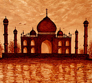 Silhouette Painting Posters - Dreaming of Taj Mahal original coffee painting Poster by Georgeta  Blanaru