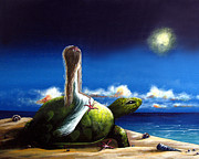 Ocean Turtle Paintings - Dreams Before I Awake by Shawna Erback by Shawna Erback