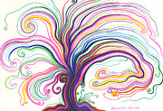 Fantasy Tree Art Drawings Prints - Dreamscape Tree Print by Nina Kuriloff