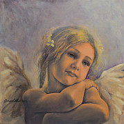Figurative Posters - Dreamy Angel Poster by Dorina  Costras