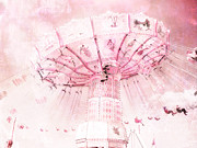 Pink Photos Prints - Dreamy Baby Pink Carnival Fair Ferris Wheel Print by Kathy Fornal