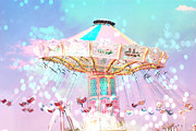 Pink Photos Prints - Dreamy Baby Pink Ferris Wheel Festival Ride Print by Kathy Fornal