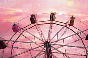 Summer Festival Art Prints - Dreamy Baby Pink Sky Ferris Wheel Carnival Art Print by Kathy Fornal
