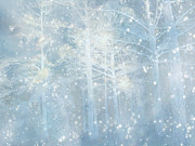 Surreal Nature And Trees Prints - Dreamy Blue Stars and Snow Woodlands Nature Print by Kathy Fornal