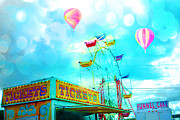 Summer Festival Art Prints - Dreamy Carnival Ferris Wheel Ticket Booth Hot Air Balloons Teal Aquamarine Blue Festival Fair Rides Print by Kathy Fornal