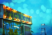 Summer Festival Art Prints - Dreamy Carnival Festival Ticket Booth Stand - Teal Aquamarine Blue Carnival Festival Fun Slide Photo Print by Kathy Fornal
