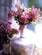 Pink Flower Prints Prints - Dreamy Cottage Chic Impressionistic FLowers Print by Kathy Fornal