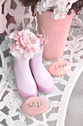 Decor Photography Posters - Dreamy Cottage Garden Shabby Chic Pink Boots and Garden Pot - Inspirational Stones Love Wish  Poster by Kathy Fornal