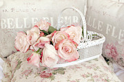 Decor Photography Prints - Dreamy Cottage Shabby Chic Pink Roses In White Basket - Belle Fleur French Roses Print by Kathy Fornal