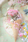 Dreamy Food Photos Prints - Dreamy Cottage Shabby Chic Romantic Floral Art With Waffle Cone and Party Ribbons Print by Kathy Fornal