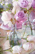 Romantic Art Posters - Dreamy Cottage Shabby Chic White and Pink Roses Teal Vases - Dreamy Romantic Rose Photography Poster by Kathy Fornal