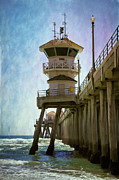Dreamy Day At Huntington Beach Pier Print by Joan Carroll