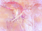 Fantasy Angel Art Posters - Dreamy Ethereal Pink Angel Art With Hearts Poster by Kathy Fornal