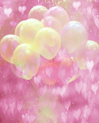 Baby Room Framed Prints - Dreamy Fantasy Surreal Yellow Balloons With Pink Hearts  Framed Print by Kathy Fornal
