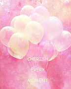 Baby Room Framed Prints - Dreamy Fantasy Whimsical Yellow Pink Balloons With Hearts - Typography Quote - Cherish Every Moment Framed Print by Kathy Fornal