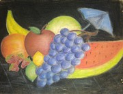 Dew Pastels Posters - Dreamy Fruit Poster by Tracy Lawrence