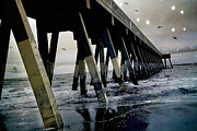 Wrightsville Beach Photos - Dreamy Haunting Ocean Coastal Pier With Stars and Birds by Kathy Fornal