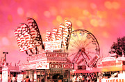 Summer Festival Art Posters - Dreamy Hot Pink Orange Carnival Festival Cotton Candy Ferris Wheel Art Poster by Kathy Fornal