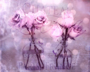 Romantic Art Prints - Dreamy Impressionistic Cottage Chic Pink and Purple Roses - French Inspired Pink Roses In Vase Print by Kathy Fornal