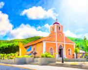 San Juan Bautista Framed Prints - Dreamy Little Church In The Tropical Sun Framed Print by Mark E Tisdale