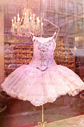 Paris Photography Prints - Dreamy Paris Pink Dress Couture-Pink Chandelier  Print by Kathy Fornal