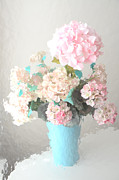 Cottage Chic Photos - Dreamy Pastel Pink and Aqua Teal Impressionistic Shabby Chic Cottage Romantic Floral Bouquet  by Kathy Fornal
