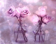 Decor Photography Prints - Dreamy Pink and Purple Cottage Floral Shabby Chic Roses - Impressionistic Romantic Pink Floral Art  Print by Kathy Fornal
