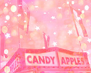 Carnival Fun Festival Art Decor Posters - Dreamy Pink Carnival Festival Fair Candy Apples Stand With Stars and Circles  Poster by Kathy Fornal