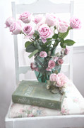 Cottage Chic Photos - Dreamy Pink Impressionistic Shabby Chic Cottage Romantic Floral Bouquet of Roses Book and Chair by Kathy Fornal