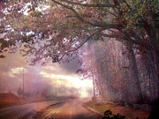 Scenic Drive Metal Prints - Dreamy Pink Nature Landscape - Surreal Foggy Scenic Drive Nature Tree Landscape  Metal Print by Kathy Fornal