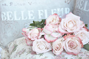 Decor Photography Posters - Dreamy Pink Romantic Cottage Roses Poster by Kathy Fornal