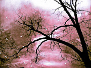 Textured Photo Framed Prints - Dreamy Pink Surreal Trees Fantasy Nature Framed Print by Kathy Fornal