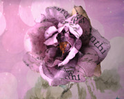 Romantic Roses Photography Photos - Dreamy Purple Impressionistic Romantic Shabby Chic Cottage Purple and Pink Abstract Floral Art  by Kathy Fornal