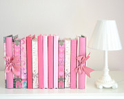 Dreamy Romantic Books Collection - Shabby Chic Cottage Chic Pastel Pink Books Photograph Print by Kathy Fornal