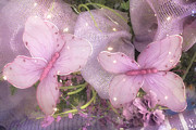 Pink Floral Art Photos - Dreamy Romantic Cottage Chic Shabby Chic Butterflies Purple Lilac  by Kathy Fornal