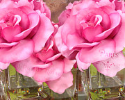 Floral Photos Photos - Dreamy Romantic Impressionistic Trio of Hot Pink Beautiful Cottage Garden Shabby Chic Paris Roses  by Kathy Fornal