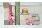 Cupcake Photography Prints - Dreamy Romantic Pastel Shabby Chic Cottage Chic Books With Pink Cupcake - Food Photography Print by Kathy Fornal