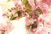 Abstract Floral Art Photos - Dreamy Shabby Chic Cottage Pink Flowers In Vase by Kathy Fornal