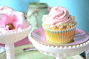 Kitchen Art Photographs Prints - Dreamy Shabby Chic Cupcake Vintage Romantic Food and Floral Photography - Pink Teal Aqua Blue  Print by Kathy Fornal