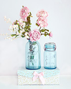 Floral Photographs Prints - Dreamy Shabby Chic Floral Cottage Chic Pink Roses In Vintage Aqua Blue Ball Jars  Print by Kathy Fornal