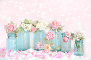 Ball Jars Posters - Dreamy Shabby Chic Floral Cottage Chic Romantic Roses in Vintage Aqua Teal Blue Ball Jars  Poster by Kathy Fornal
