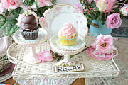 Kitchen Photographs Prints - Dreamy Shabby Chic Pink and Chocolate Cupcakes Vintage Romantic Food and Floral Photography Print by Kathy Fornal