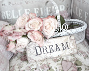 Decor Photography Prints - Dreamy Shabby Chic Romantic Cottage Chic Roses In White Basket  Print by Kathy Fornal