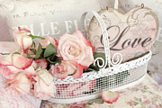 Shabby Photo Posters - Dreamy Shabby Chic Roses White Basket Love Poster by Kathy Fornal